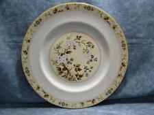 "Mandalay by Royal Doulton 10-5/8"" Dinner Plate Tan Blue &White Flowers Brown Rim"