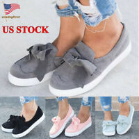Women's Slip On Bowknot Loafers Shoes Ladies Casual Flats Moccasins Size 5-9.5