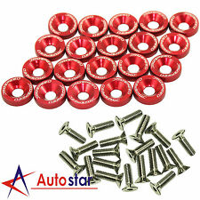 20pcs Red Billet Aluminum Fender/Bumper Washer/Bolt Engine Bay Dress Up Kit