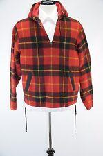Woolrich Black Red Plaid Moth Proof Wool 1/4 Zip Hooded Pop Over Men's Large