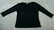 L.K. BENNETT Size 10 12 Medium Black Designer Scoop Neck Top 3/4 Sleeve Blouse