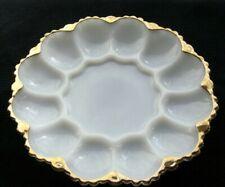 "Anchor Hocking Milk Glass Gold Edge #896 Fan Wave 10"" Egg Tray Platter"