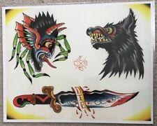 Tattoo Flash Single Sheet Print by Evan Barry Wolf Dagger Knife Spider 11�X14�
