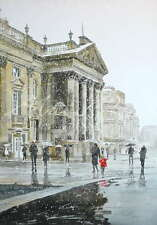 """ORIGINAL ALAN REED WATERCOLOUR """"Theatre Royal in the Snow"""" Newcastle PAINTING"""