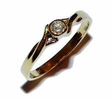 Fully Hallmarked 18ct Yellow Gold & Diamond Fancy Twist Solitaire Ring (UK: N)