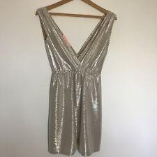 Mini Vestido Oh My Love Topshop XS 8/10 - ostentoso Corte Bajo Profundo de inmersión Oro Plata