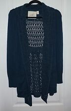 Women's ANTHROPOLOGIE ANGEL OF THE NORTH Open Front Cardigan Teal L/S XS X-Small