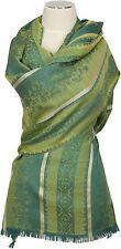 Jacquard écharpe noble vert laine soie wool silk scarf foulard Echarpe Green