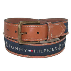 Tommy Hilfiger Men's 11TL02X032 Anchor Logo Ribbon Inlay Leather Belt