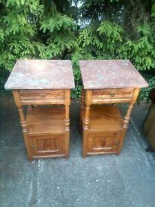 Paire de 2 tables de chevet Anciennes en noyer dessus marbre excl état fin XIXe