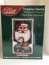 New listing Latch Hook Kit Victorian Santa J&P Coats 25182 Mint Unopened Condition!