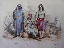 COSTUME ALGERIE / Négresse-Femme Kabyle-Mauresque 1847 rehaussée de couleurs