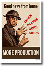 Good news from home - Tanks Planes Guns - More Production  - Vintage WWI POSTER