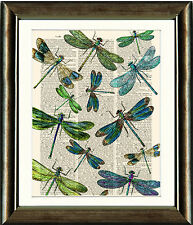 Antique Book page Art Print - Green Dragonflies Upcyled Dictionary page Wall Art
