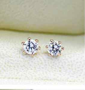 New 18K Rose Gold GF 6MM Classic SWAROVSKI Lab Diamond Stud Earrings Stunning