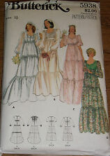 BUTTERICK BRIDAL WEDDING GOWN SEWING PATTERN Vintage Bride Dress #5938 Ladies 10