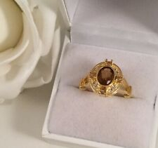 Vintage Jewellery Gold Ring Brown Topaz White Sapphires Antique Deco Jewelry