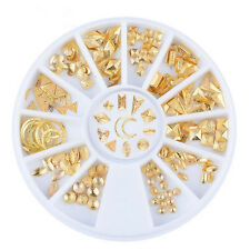 12 Style Gold Matte Scrub Nail Art Stud Wheel 3D Tips Metal Moon Decoration Tool
