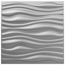 """Pvc Wave Board Textured 3D Wall Panels,Silver,19.7""""x 19.7""""(13 Pack) Waterproof"""