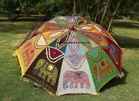 Garten Sonnenschirm Handgefertigt Bestickt Indisch Außen Terrasse Schirm 183cm
