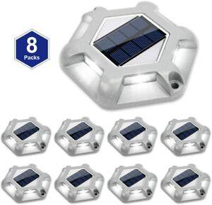 Solar Dock Lights Outdoor Waterproof for Dock Stairs driveways (8 Packs)