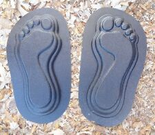 "Feet footprint molds plaster cement garden mould each 12"" x 3/4"" thick"