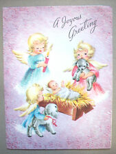 Angels with lamb candle visiting baby Jesus CHRISTMAS VINTAGE GREETING CARD *P