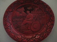 Antique  Chinese Red Cinnabar Well  Carved Plate or Shallow Dish