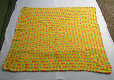 Lap Blanket--Throw--Afghan--Bright Yellow/Multicolor--Hand Crochet