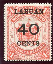 Labuan 1895 QV 40c on $1 scarlet MLH. SG 79. Sc 62.