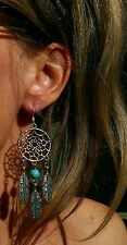 DREAMCATCHER EARRINGS ON STERLING SILVER HOOKS TURQUOISE GEMSTONE PENDANT CHARM