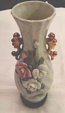 "VINTAGE Ceramic China Bud Vase w/Raised Flowers, Gold Handles, Swirl Design, 10"""