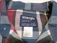Wrangler Cowboy Western shirt men's long sleeve pearl snap teal pink plaid 17/36