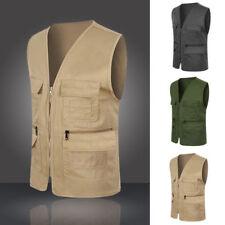 Mens Vest Multi Pocket Sleevess Jacket Travelers Fishing Director Casual Tops AU