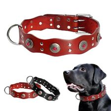 Genuine Leather Dog Collar Jewel Design With Durable Metal D Ring For Large Dogs