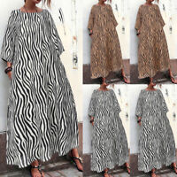 Women Long Sleeve Animal Print Long Maxi Dress Oversize Kaftan Shirt Dress Plus