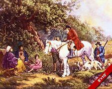 THE BENEVOLENT SPORTSMAN HUNTER ON HORSEBACK PAINTING ART REAL CANVAS PRINT