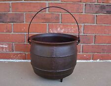 "Tripod Footed Cast Iron Bean Pot Kettle Cauldron 9"" H (w/out Handle) x 10.5"" W"