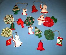 Lot 14 Handmade Bucilla Christmas Tree Ornaments Felt/Sequins Angel/Santa & More
