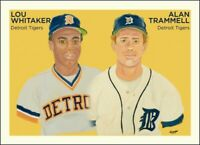 Alan Trammell & Lou Whitaker Limited Edition Art Baseball Card + 9 Tigers Cards.