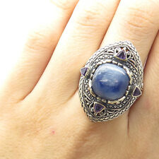 Wide Braided Border Ring Size 9 925 Sterling Silver Real Kyanite Amethyst Gem