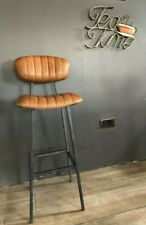 Brown/Tan Leather Bar Stool/ Industrial Leather Stool/Kitchen Stool/High Back St