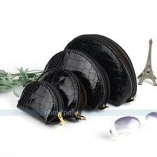 4 in 1 Black Snake Skin Travel Cosmetic Makeup Beauty Case Purse Toiletry Bag
