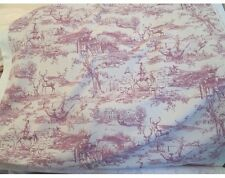 Hunt Country Pictorial Toile De Jouy Cotton Linen Weave Curtain Fabric Raspberry