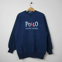 90s Polo Ralph Lauren L Navy Spell Out Embroidered Heavy Weave Crew Neck Sweater