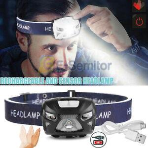 USB Sensor Head Light Torch LED Headlamp Headlight Lamp Rechargeable Lumens UK