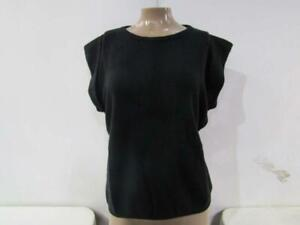 Minnie Rose Women's US XS Cashmere Cap Sleeve Tee Black S6911C21