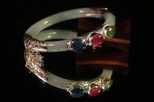 Sterling Silver Natural Jadeite Bangle Bracelet TriStone Jade Kyanite Ruby C1