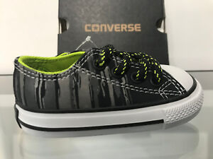 Converse CTAS Ox Low Top Boys Black/Bold Lime Infant Shoes Sneakers Size 4