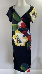 Moss & Spy - Black / Red / Yellow Floral Dress - Stretch - Size 14 - Preowned
